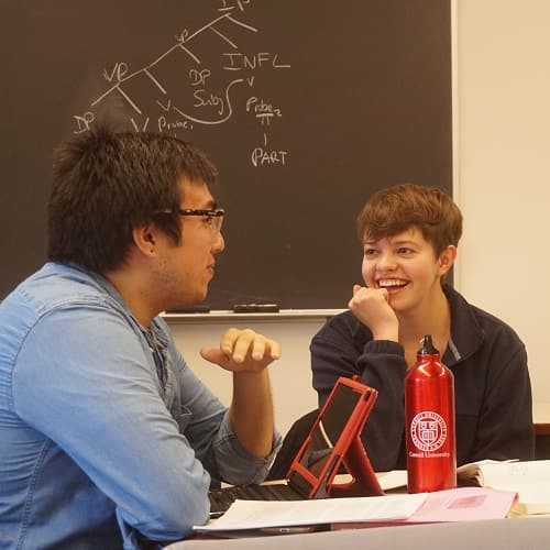 Linguistics undergraduates talking