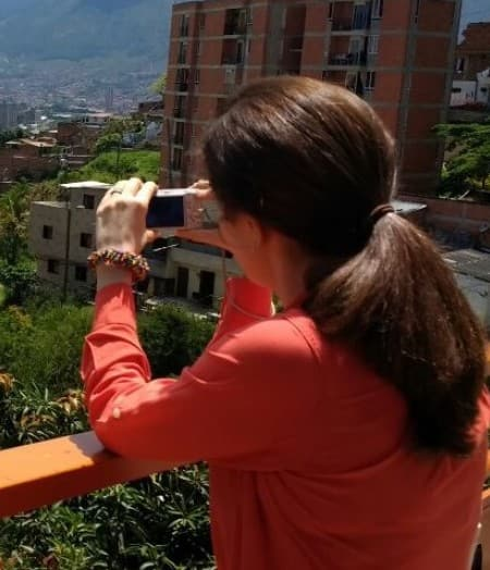 Andrea Restrepo-Mieth, a 2017-18 travel grant recipient, in Medellin, Colombia.