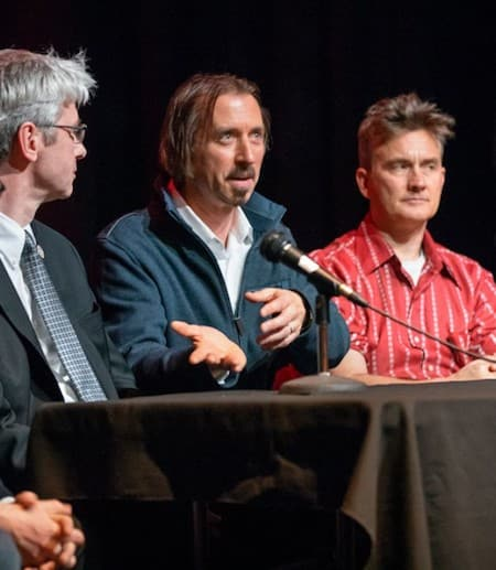from left, Gerald Beasley, the Carl A. Kroch University Librarian; filmmaker Jason Schmitt, Jeremy Braddock, associate professor of English