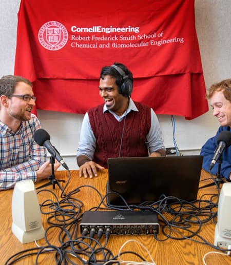 Doctoral students doing science podcast